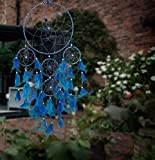 #1: ILU Dream Catcher Wall Hanging Handmade Beaded~ 1 Big and 4 Small Circular Net with Feather Decoration Ornaments Size 21cm Diameter Blue