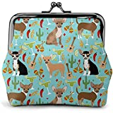 Guitare Blue Chili Chihuahua Vintage Pouch Girl Kiss-Lock Change Purse Wallets Buckle Leather Porte-Monnaie