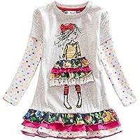 NEAT Vestito Floral Manica Lunga Cotone Bambine e ragazze 2-8 anni