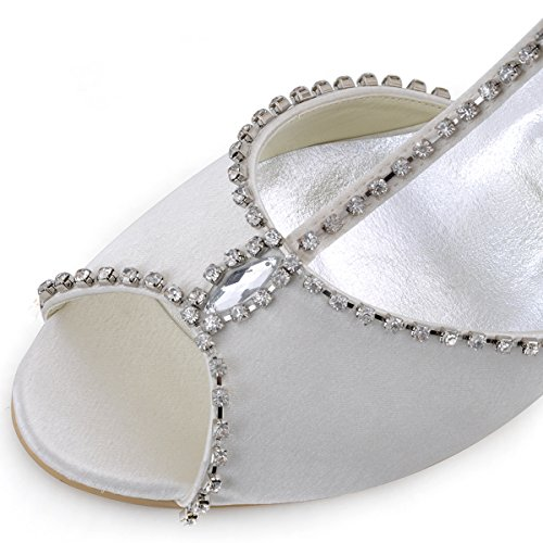 Elegantpark MC-032 Rosa Accessorio Diamante Cinturino Open Toe Sandaletti Scarpe a Tacco con Zeppa da sposa Ballo Avorio