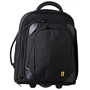 "GATE8 2-in-1 Cabin Mate Carry On Luggage for Easyjet, Ryanair, Air Lingus - Lightweight Luggage Trolley Wheeled Cabin Bag Roller Bag with detachable laptop backpack to protect 13"", 15.6"" inch laptops."