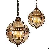 Kugel Pendelleuchten 3-Licht Vintage Kronleuchter Raumbeleuchtung 220-240V für Schlafzimmer Wohnzimmer Esszimmer von Lightinthebox 1Pcs (Antikes Messing)