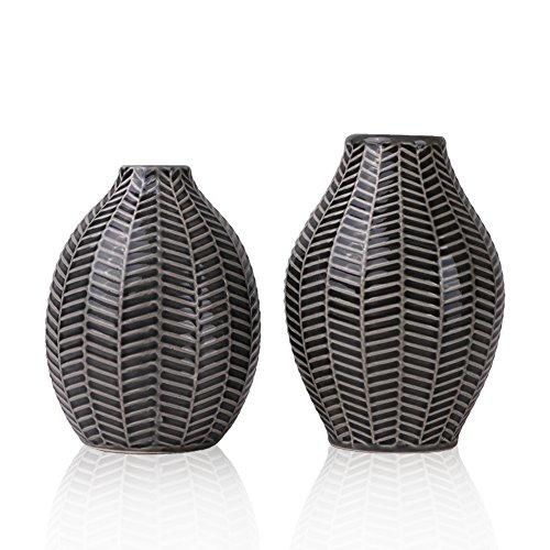 Hannahu0027s Cottage Keramik Vasen, Keramikvasenset 2er Set Grau Handmade  Moderne Deko Vase Für Wohnzimmer, Küche, Tisch, Zuhause, Büro, Hochzeit,  Herzstück ...