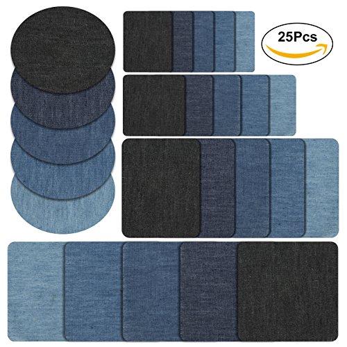 Naler 25-teilig Patches zum aufbügeln in 5 Farben Baumwolle Flicken Bügelflicken Bügeleisen Denim Patches Jeans Reparatursatz Set Aufbügelflicken (5 Größe)