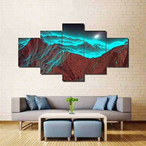 QLIYT in Stampe su Canvas Immagini di Arte della Parete Poster Modulare  Abstract Green Cloud Paesaggio di Montagna Pittura Stampe Moderne Decor per  La ...