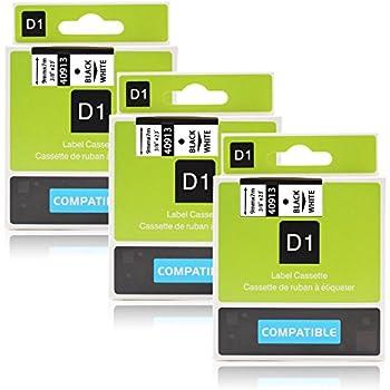 Anycolor 3X Schriftband Kompatibel zu Dymo 40913 S0720680 Schwarz auf Weiß...