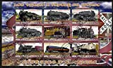 Djibouti 2010 Steam Locos of the World - USA perf sheetlet containing 9 values fine cto used...