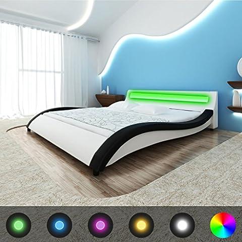 vidaXL–Cama de piel sintética con cabecero LED y colchón 140cm negro blanco