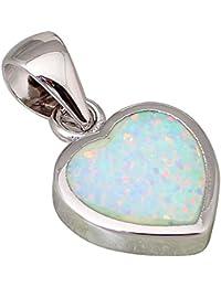 Colgante corazón blanco plata de ley 925 P040