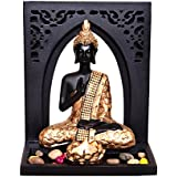 MARINER'S CREATION DIVINE MEDITATING BUDDHA IDOL STATUE WITH ROYAL TRAY,T LIGHT HOLDER & PEBBLES FOR HOME DECOR & GIFTING | Showpiece For Home Decor |
