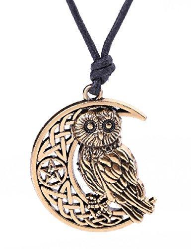 Collar con colgante de buho de media luna con amuleto de nudo irlandes y talisman