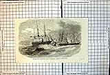 Old-print Copie Antique du Fonctionnement En Bas de la Vertu de Brigantin Par le Port Résolu 1856 de Kingstown