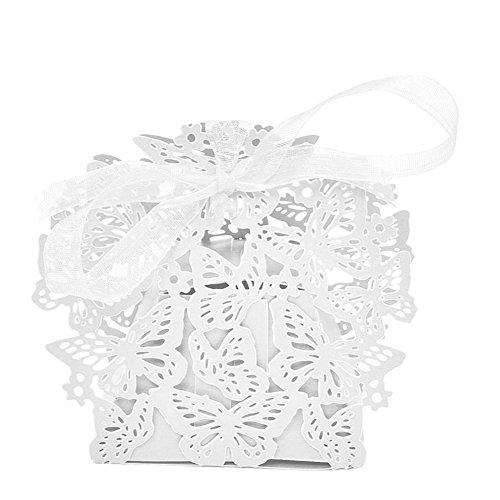 ische Hochzeit Party Geschenktüten Gastgeschenken Schmetterling DIY Decor Candy Cookie Geschenk Boxen Weihnachten Geburtstag Partytüten mit Schleife, 4Farben-6x 4x 7cm weiß ()