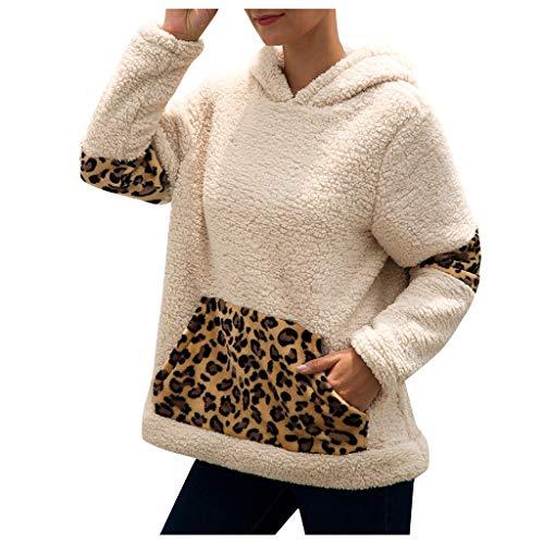 Sudadera Mujer ACEBABY Sudadera de Felpa con Capucha y Bolsillo de Manga Larga Costuras de Leopardo Abrigo Hoodie Simple Casual Pullover Otoño e Invierno