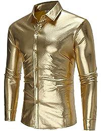 9ece803249 Baoffs Camisas Casuales de los Hombres clásicos Discoteca Personalidad  Patrón Camisa Salvaje Hombres Casual Otoño e Invierno Camisa de Manga…