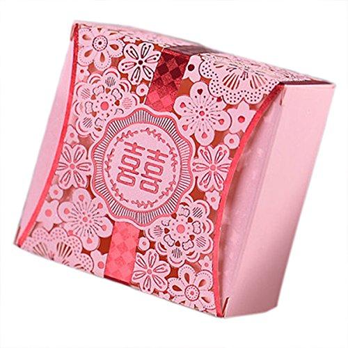 10pcs personifizierte Bevorzugungen große Hochzeit Gunsten Candy Box rosa Partei-Geschenk-Box romantischen Stil (Bonbons oder Pralinen nicht enthalten)