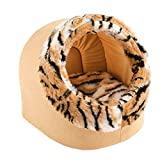 Ferplast 81005030C Katzenhöhle Imperial 35, Maße: 35 x 38 x 35 cm, beige/tigermuster