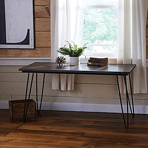 Hahaemall Modern Look Furniture DIY Home Dining Industrial Black Metal 2 Rod Hairpin Coffee Table Legs Set of 4PCS Without The Wooden Board (28 inch /