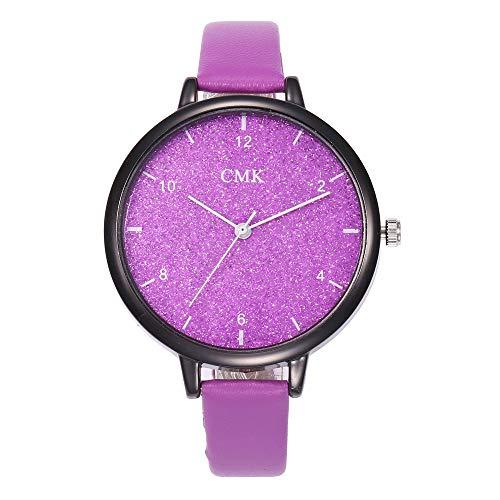 Hffan Damen Neu Glanz Schau zu Leuchtend Kreativ Quarzuhr Elegant Casual Mode Business Präzise Damenuhr Modisch Armbanduhren Handverzierungen für Frauen mit Lederband(Violett,One Size)
