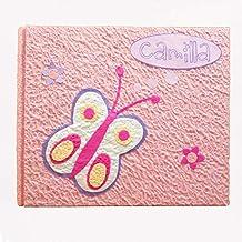 legnoegrafite Album Fotografico Artigianale Farfalla con Nome 20,5cm x 17cm 30 Fogli 60 Foto Regalo Nascita Bambina Rosa
