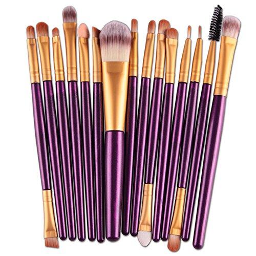 Fami 15 pcs / Sets Ombre à paupières Brosse à lèvres sourcils, pinceaux de maquillage Outils,Violet