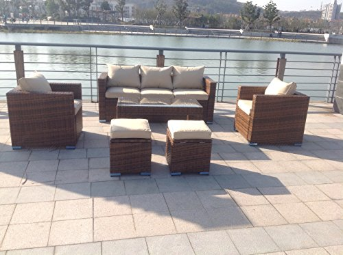 NEW RATTAN WICKER CONSERVATORY OUTDOOR GARDEN FURNITURE SET CORNER SOFA TABLE (Light brown)