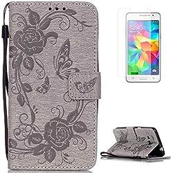CaseHome Compatible For Samsung Galaxy Grand Prime SM-G530 Wallet Funda,Carcasa PU Leather Cuero Cierre Magnético Billetera con Tapa Libro Tarjetas para Estilo del Libro Estuche del Protector-Gris