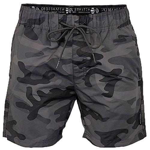 Crosshatch Herren Shorts Camoswim, Grey (Charcoal Camo), Medium (Aztec Shorts Printed)