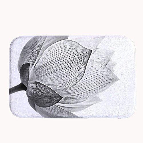 Rioengnakg fiore di loto in bianco e nero isolato su sfondo bianco super assorbente tappetino antiscivolo in pile corallo tappeto zerbino d' ingresso tappeto tappetini per anteriore esterno porte, black, 16