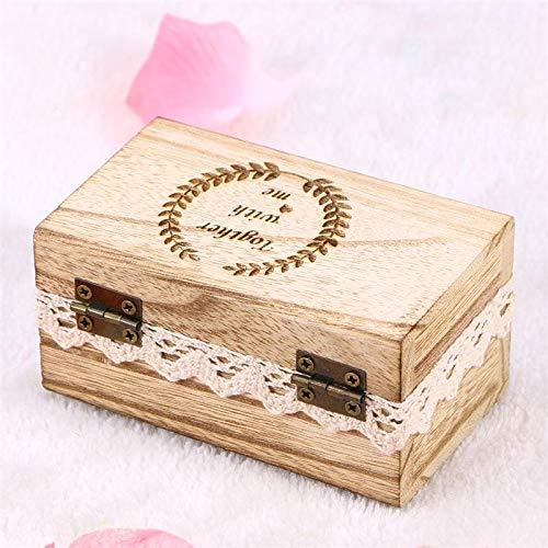 Preisvergleich Produktbild VAWAA 1pc Schmuckbox Carved Rustic Vintage Wooden Ring Holder Halskette Container Watch Box Für Hochzeits-Proposal Engagement