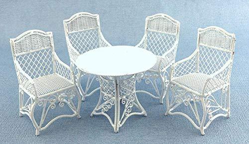 Puppenhaus Gartenmöbel Weiß Schmiedeeisen Terrassen Set Tisch 4 Stühle - Schmiedeeisen Terrasse