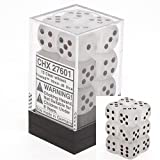 12 d6 Dice Set Chessex FROSTED CLEAR black 27601 GELO TRASPARENTE nero Dadi Dado