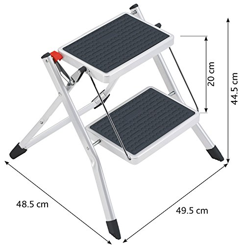 ArtMoon Rock 2 Step Ladder Heavy Duty Steel (holds up to 150 kg) Portable Folding Step Stool with Anti Slip Ribbed Steps