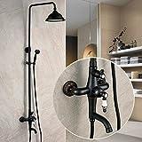 Buluke Vintage de bronce negro ducha con ducha de mano, a grifo