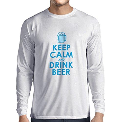 ren t Shirts Behalten Sie Ruhe und Getränk Bier - Getting betrunken, Lustige Zitate Alkohol Geschenke (XS Weiß Blau) (Kreative Halloween-getränke)