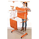 DWD Ã'® Clothes Airer Drying Rack Extra Large Deluxe 3 Tier Clothes Drying Rail (20M Hanging Space) White & Orange Folds Flat For Easy Storage by DWD