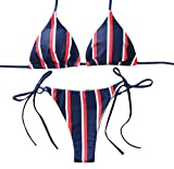 VJGOAL Damen Bikini Set, Frauen Mode Streifen Print Verband Gepolsterter BH Strand Halter Bikini Set Dünn Bademode (S, Red)