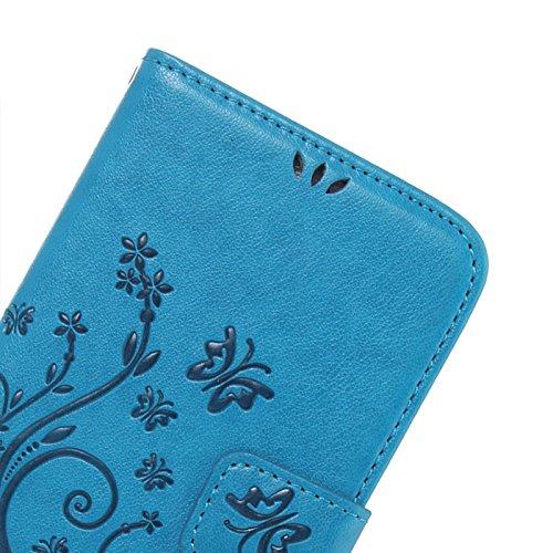 Huawei Y6 Cover Protettiva, Alfort 2 in 1 Custodia in Pelle Verniciata Goffrata Farfalle e Fiori Alta qualità Cuoio Flip Stand Case per la Custodia Huawei Y6 Ci sono Funzioni di Supporto e Portafoglio Verde