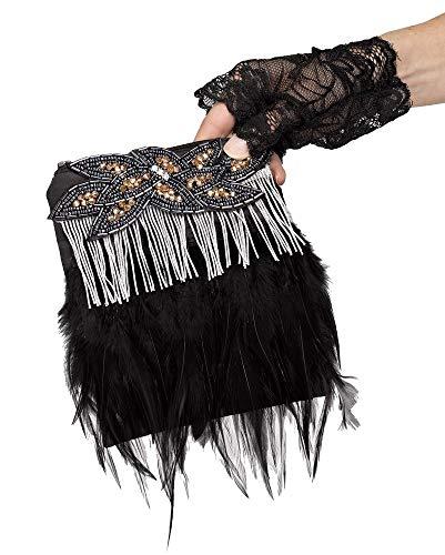 Flapper Handtasche Federn Fransen Perlen schwarz Kostüm-Zubehör 20er Jahre Damen-Tasche The Roaring Twenties 20's Gatsby Girl, Farbe:Silber ()