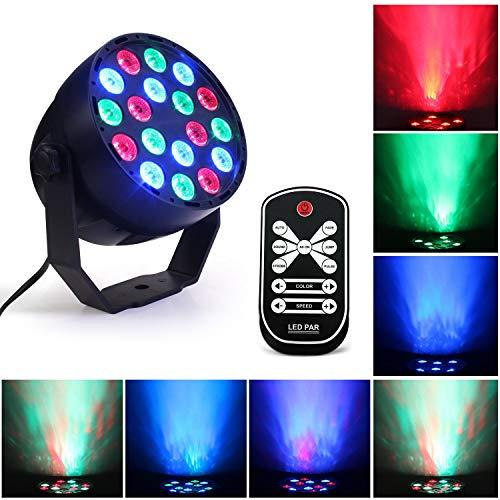 WuZhong W RGB LED Bühnenlicht, 3W x 18 LEDs Disco Ball Party PAR Lampe, IR Fernbedienung 7 Modi DMX 512 Sound Control DJ Atmosphere Licht für Bar Partys Hochzeit Weihnachten (Sounds Halloween Clips)