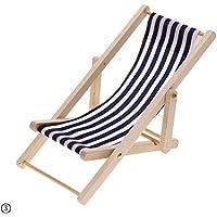RUNGAO 1:12 Doll House Miniature Mini Beach Chair Stripes Wooden Chair Toy