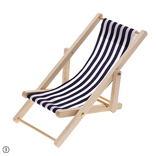 RUNGAO 1:12 Doll House Miniature Mini Beach Chair Stripes Wooden Chair Toy Blue