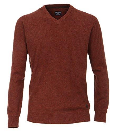 Casa Moda - Herren Pullover mit V-Ausschnitt in Melange Optik (462521200A) Orange (490)