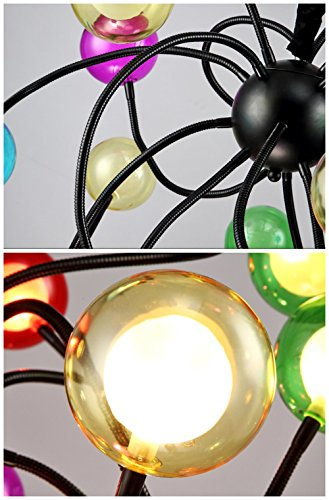 Moderne Pendelleuchte bunt 15 Glaskugeln Kronleuchter,Ø100cm - 3