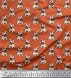 Soimoi Orange Viskose Chiffon Stoff Mops Hund Stoff drucken