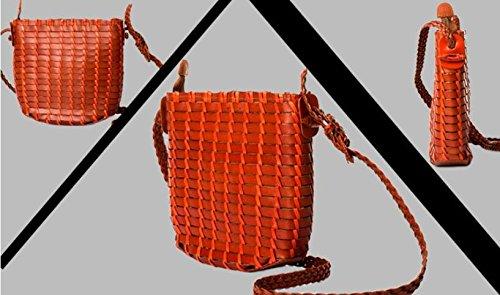 DJB/ Kleine Umhängetasche gewebte Leder gewebt Umhängetaschen Brown