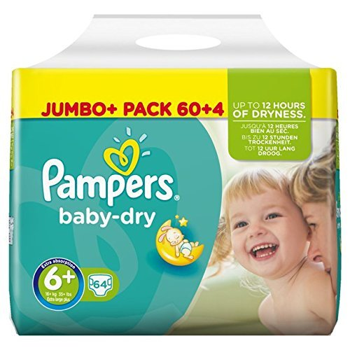 Pampers Baby Dry Size 6+ Nappies Jumbo+ Pack 64 per pack