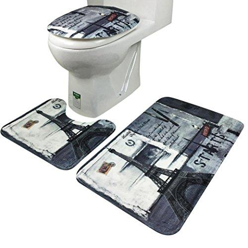 tappetino da bagno, lanowo 3pcs antiscivolo confortevole, tutela ambientale e buona ventilazione bagno oceano stile piedistallo Rug coperchio WC, Tappetino da bagno Set Gray