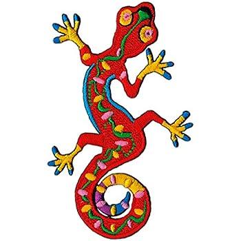 Aufnäher // Bügelbild Gecko Salamander Tier 9.4 x 6 cm grün