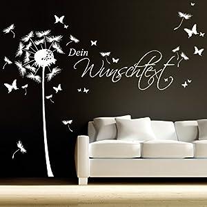Wandtattoo Loft® Wandaufkleber Pusteblume mit Wunschtext / Dandelion / mit Schmetterlingen / bis zu 15 Wörter...